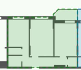 ЖК «Кировский посад 2», планировка 2-комнатной квартиры, 52.03 м²