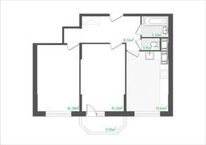 ЖК «Кировский посад 2», планировка 2-комнатной квартиры, 55.57 м²