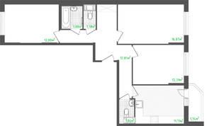 ЖК «Кировский посад 2», планировка 3-комнатной квартиры, 73.42 м²