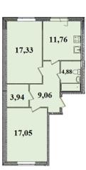 ЖК «Гармония» (Старая), планировка 2-комнатной квартиры, 64.02 м²