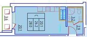 ЖК «Нева Сити» (Кировск), планировка студии, 28.00 м²