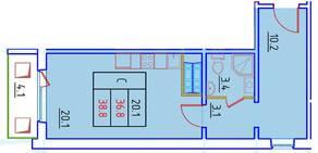 ЖК «Нева Сити» (Кировск), планировка студии, 38.80 м²