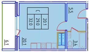 ЖК «Нева Сити» (Кировск), планировка студии, 32.00 м²