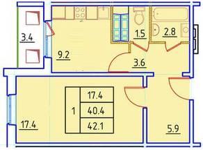 ЖК «Нева Сити» (Кировск), планировка 1-комнатной квартиры, 42.10 м²
