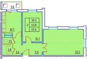 ЖК «Нева Сити» (Кировск), планировка 2-комнатной квартиры, 65.60 м²