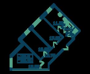 ЖК «Ямбург», планировка 3-комнатной квартиры, 86.91 м²