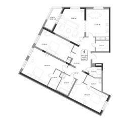 ЖК «Форсайт», планировка студии, 143.17 м²
