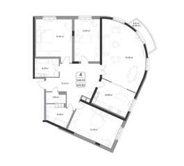 ЖК «Форсайт», планировка студии, 145.83 м²
