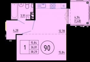 ЖК «Образцовый квартал 6», планировка студии, 38.29 м²