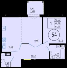 ЖК «Образцовый квартал 6», планировка студии, 61.66 м²