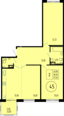ЖК «Образцовый квартал 6», планировка студии, 97.50 м²