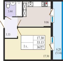 ЖК «Ямбург Сити», планировка студии, 36.27 м²
