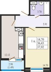 ЖК «Ямбург Сити», планировка студии, 37.92 м²
