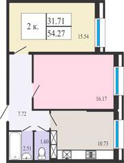 ЖК «Ямбург Сити», планировка студии, 54.27 м²
