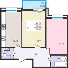 ЖК «Ямбург Сити», планировка студии, 59.46 м²