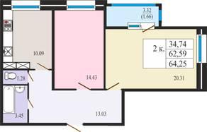 ЖК «Ямбург Сити», планировка студии, 64.25 м²