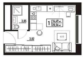 МФК «апарт-отель «Yard Residence», планировка студии, 20.56 м²