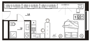 МФК «апарт-отель «Yard Residence», планировка студии, 28.80 м²