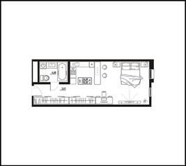 МФК «апарт-отель «Yard Residence», планировка студии, 35.03 м²