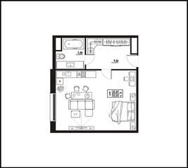 МФК «апарт-отель «Yard Residence», планировка студии, 52.02 м²