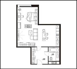 МФК «апарт-отель «Yard Residence», планировка студии, 62.36 м²