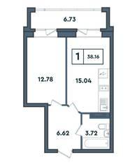 ЖК «Amster», планировка студии, 38.16 м²