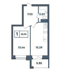 ЖК «Amster», планировка студии, 38.98 м²