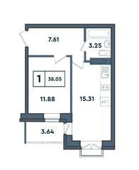 ЖК «Amster», планировка студии, 38.05 м²