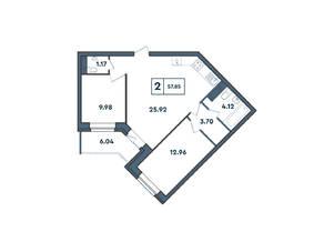 ЖК «Amster», планировка 2-комнатной квартиры, 57.85 м²