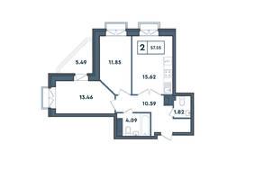 ЖК «Amster», планировка 2-комнатной квартиры, 57.55 м²