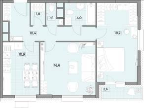 ЖК «Вестердам», планировка студии, 64.70 м²