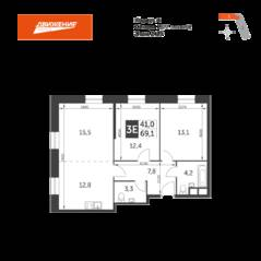 МФК «Движение. Тушино», планировка 3-комнатной квартиры, 69.10 м²