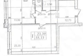 МЖК «Lake парк», планировка 1-комнатной квартиры, 55.23 м²