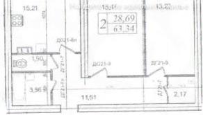 МЖК «Lake парк», планировка 2-комнатной квартиры, 63.34 м²