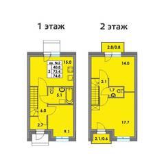 МЖК «Фёдоровское», планировка 3-комнатной квартиры, 74.80 м²