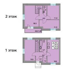 МЖК «Фёдоровское», планировка 4-комнатной квартиры, 98.24 м²