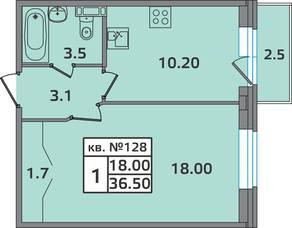 МЖК «ЭкспоГрад 2», планировка студии, 36.50 м²