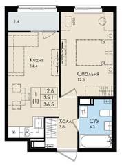 ЖК «Высший пилотаж», планировка студии, 36.50 м²