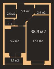 МЖК «Заневский штиль», планировка 1-комнатной квартиры, 38.90 м²
