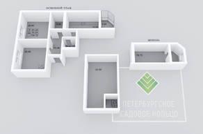 МЖК «Петербургское Садовое кольцо», планировка 2-комнатной квартиры, 134.72 м²