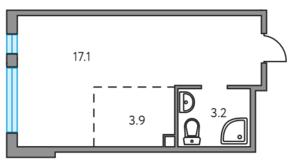 ЖК «Тринити», планировка студии, 24.20 м²