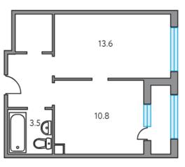 ЖК «Тринити», планировка 1-комнатной квартиры, 37.20 м²