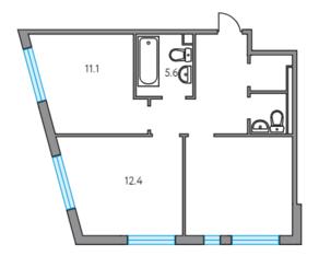 ЖК «Тринити», планировка 2-комнатной квартиры, 51.60 м²