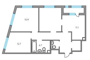 ЖК «Тринити», планировка 3-комнатной квартиры, 71.00 м²