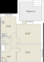 МЖК «Мелодия», планировка 2-комнатной квартиры, 73.07 м²