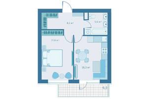 МЖК «Veda Village», планировка 1-комнатной квартиры, 45.60 м²