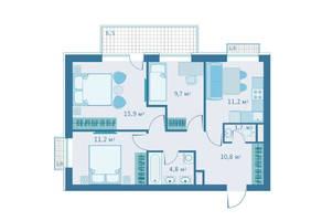 МЖК «Veda Village», планировка 3-комнатной квартиры, 65.30 м²