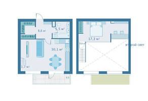 МЖК «Veda Village», планировка 1-комнатной квартиры, 64.30 м²