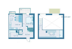 МЖК «Veda Village», планировка 2-комнатной квартиры, 54.90 м²