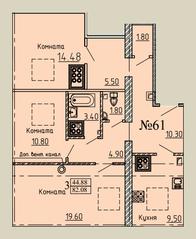 МЖК «Дворянское сословие», планировка 3-комнатной квартиры, 82.08 м²